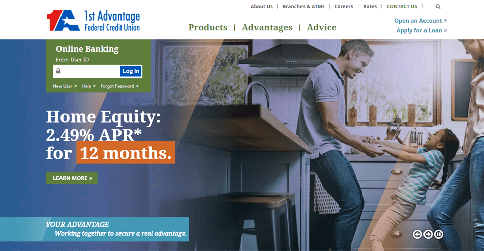 1st advantage federal credit union online banking login