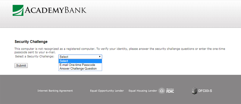 academy bank online banking login security