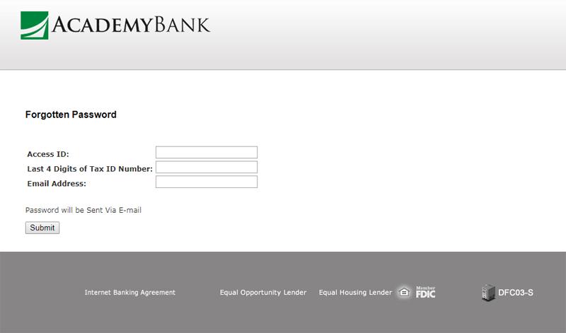 academy bank reset online banking password