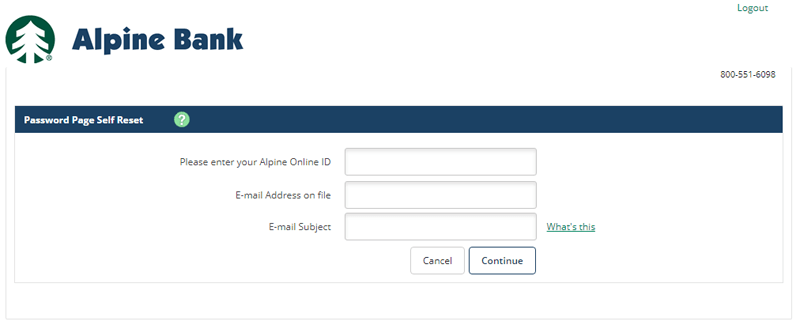 alpine bank reset online banking password