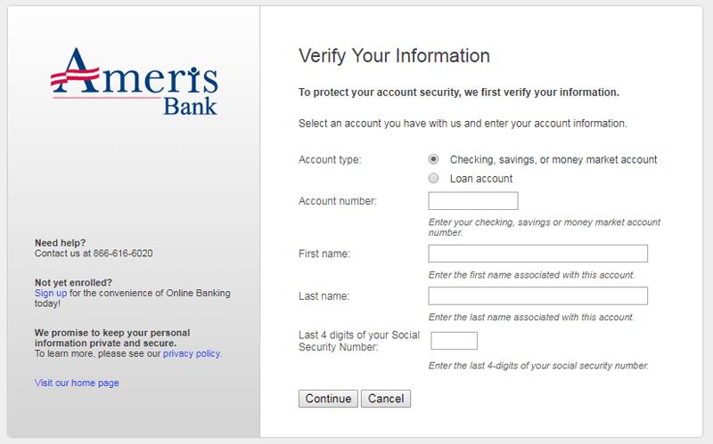 ameris bank forget user id online banking