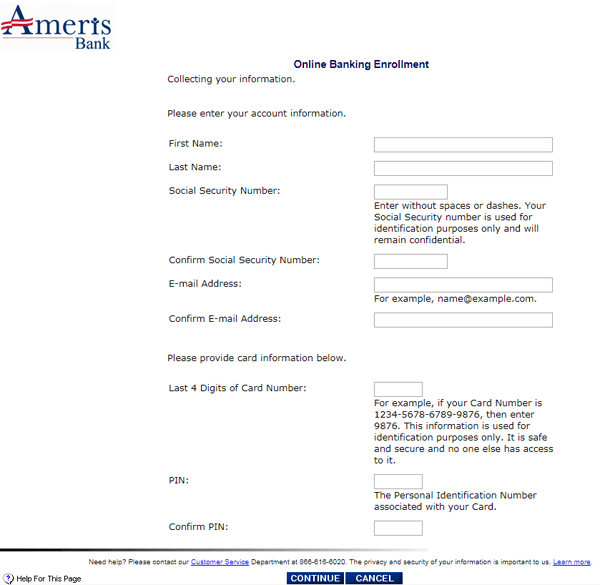 ameris bank online banking enrollment account information