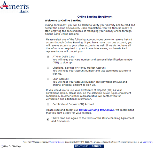 ameris bank online banking enrolment account type