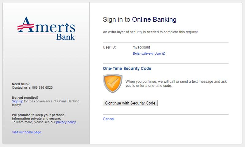 ameris bank online banking signin